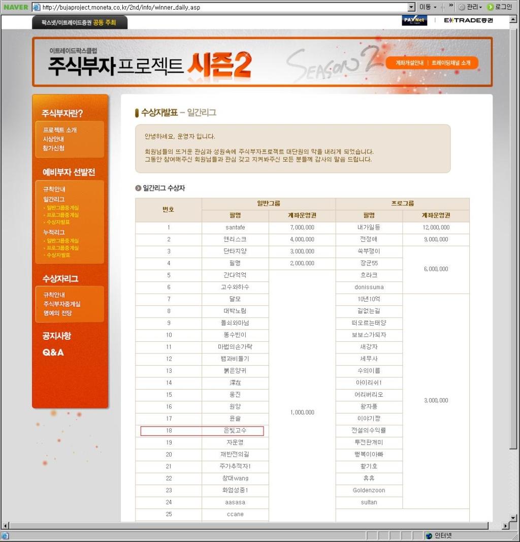 주식부자프로젝트 시즌2 참가결과