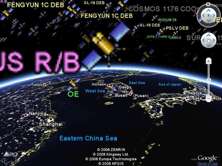 구글어스 플러그인 사례 - Earth Atlas에 인공위성 현재 위치(KML)을 띄워본 모습