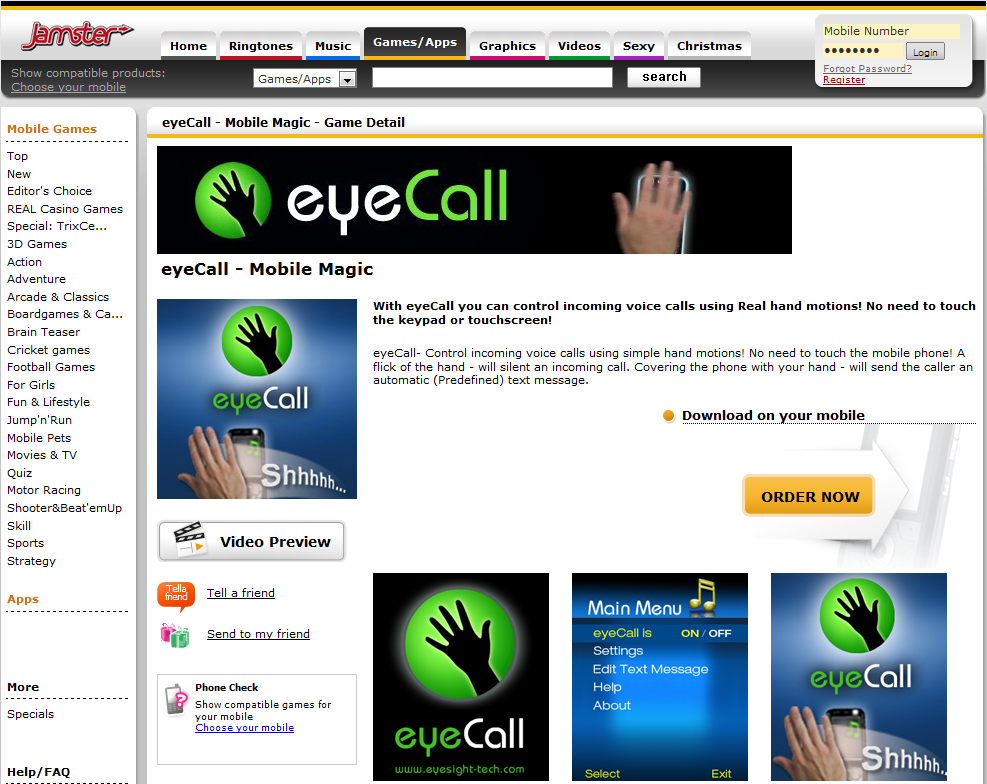 eyeCall being sold on Jamster