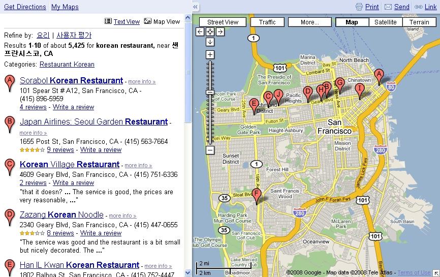 구글맵(Google Maps)에서 샌프란시스코 한국식당을 검색한 화면