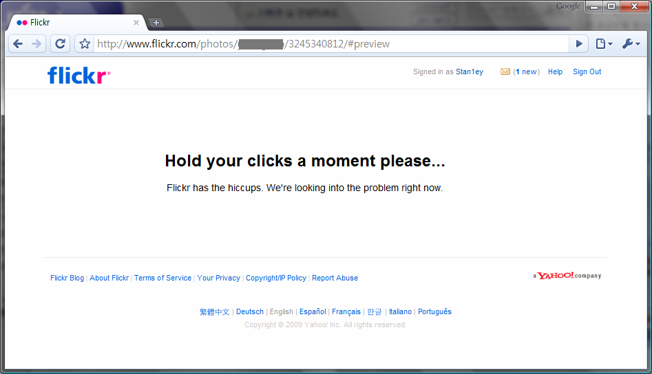 Flickr.com Error Message - Hickup huh?