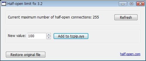 Tcp/ip half open limit patch: full version free software download